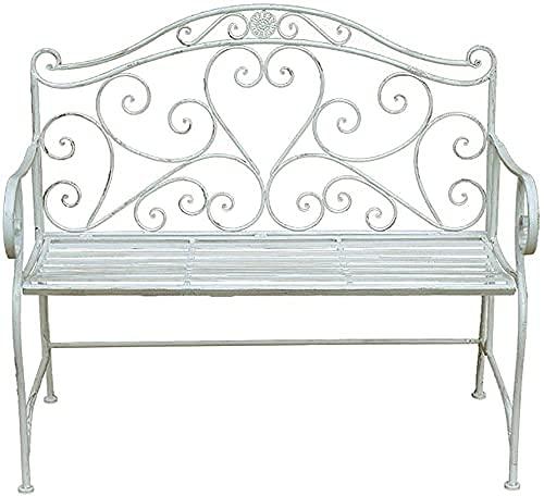Banco al aire libre Banco de patio, muebles de porche delantero, banco de jardín al aire libre, silla doble para patio, banco decorativo de porche de hierro forjado de metal, banco retro con resp
