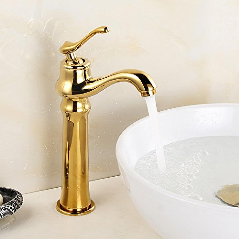 Bijjaladeva Wasserhahn Bad Wasserfall Mischbatterie WaschbeckenDie Goldene Becken Wasserhahn Warmes und Kaltes Schminktisch Becken Voll Kupfer Einzelne Bohrung Plus Hohe-führende
