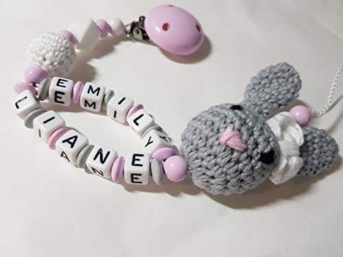 Baby Schnullerkette mit Namen | Schnullerhalter mit Doppelnamen - Mädchen Motiv 3D Hase und Häkelperle in rosa