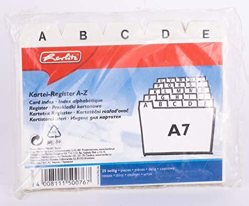 Herlitz 1500768 Karteiregister A7 'A-Z', PP, 25 teilig