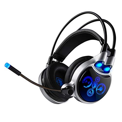 YPJKHM Casque de Jeu pour Ordinateur CF écoute et Conversation Gaming Gaming Casque de Vibration Casque émetteur de lumière 7.1 canaux