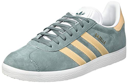adidas Gazelle, Chaussure de Gymnastique Homme, Raw Green Glow Orange FTWR White, 40 2/3 EU
