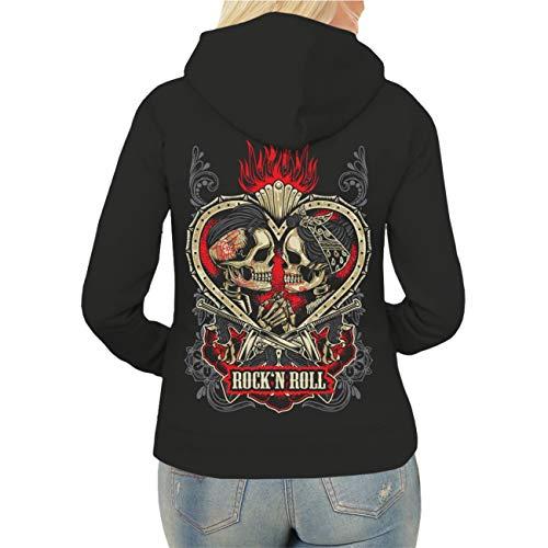 Spaß kostet Frauen und Damen Kapuzenjacke Rockn Roll Rockabella Rockabilly (mit Rückendruck) Größe XS - XXL
