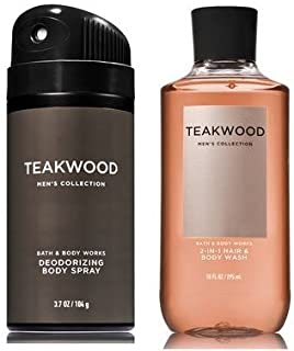 Bath and Body Works Men's Collection Deodorizing Body Spray & 2 in 1 Hair and Body Wash TEAKWOOD.