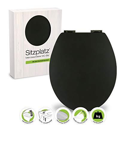 SITZPLATZ WC-Sitz mit Absenkautomatik, Schwarz, Soft-Touch Toilettensitz mit Holzkern, Fast-Fix Befestigung, Standard O Form universal, Metallscharnier, Motiv WC Deckel, samtener Soft Touch, 40395 5