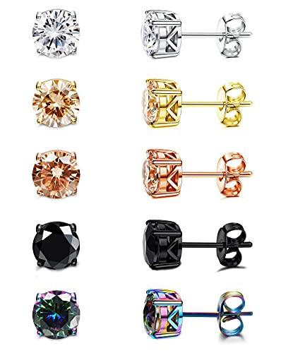 DOLOTTA 5 Pairs 20G Surgical Steel Stud Earrings for Women Men Ear Piercing Cubic Zirconia Earrings for Sensitive Ears