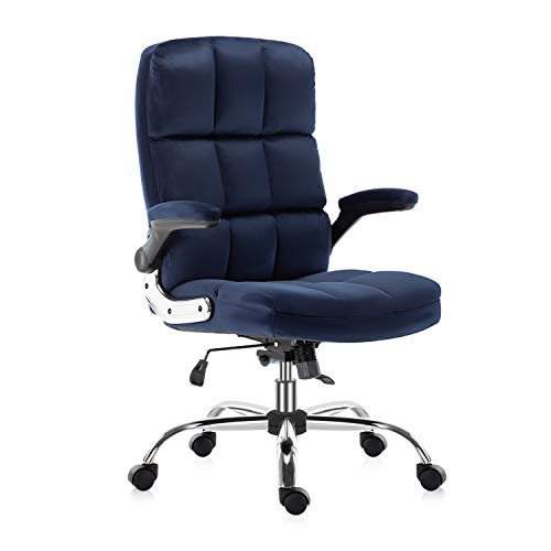 YAMASORO Executive Velvet Office Chair with Wheels,High-Back Ergonomic Computer Comfortable Desk Chair with Flip-Up Arms,Adjustable Tilt Angle,Navy Blue