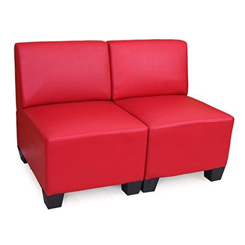 Sistema modulare Lione N71 salotto ecopelle divano 2 posti senza braccia ~ rosso