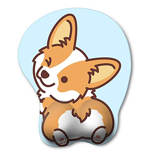 HAOCOO Ergonomic Mouse Pad with Wrist Support ,Non-Slip Backing Corgi Anime Cute Gel Mouse Pad Wrist Rest, Easy-Typing and Pain Relief for Gaming Office Computer Laptop(Blue Cute Corgi)