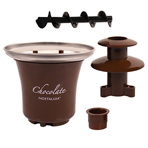 Nostalgia 8-Ounce Chocolate Fondue Fountain, Half-Pound Capacity, Easy to Assemble 3 Tiers, Perfect for Nacho Cheese, BBQ Sauce, Ranch, Liqueurs, 0.5 Pound, Brown
