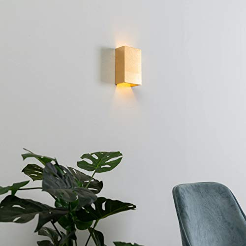 KOSILUM - Applique murale en plâtre dorée - Aries - Lumière Blanc Chaud Eclairage Salon Chambre Cuisine Couloir - 1 x 40 W - - G9 - IP20