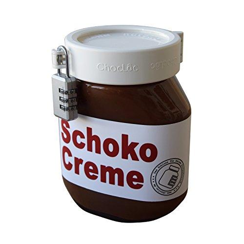 chocloc - Schloss für Brotaufstrichgläser, wie Schokomac, Alnatura, Nutella UVM. Nutellaschloss/bekannt aus Das Ding des Jahres
