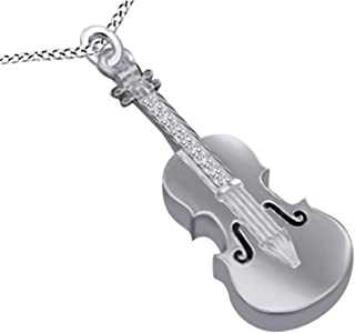 Round White Cubic Zirconia Violin 14k Gold Over Sterling Silver Pendant Necklace
