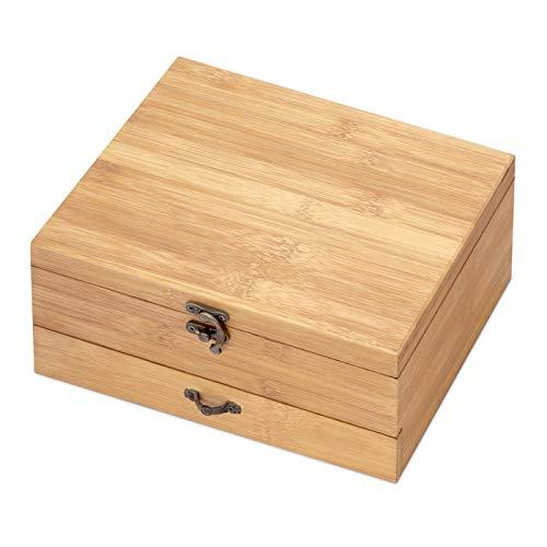 Murrano Weinöffner-Set Weinset Sommelier Set - Geschenkbox Holzbox + 8er Weinzubehörset - aus Bambus - Braun - Geschenk Geburtstag Frauen Männer