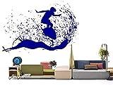 Moda 83 x 57 cm hermosa escena al aire libre hombre surf en una tabla de surf calcomanía de pared en las olas del océano, pegatina de vinilo para decoración del hogar DIY