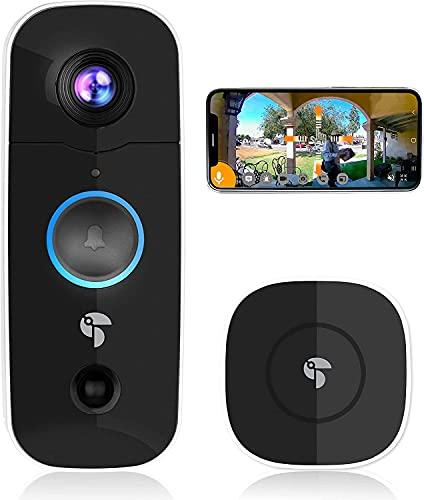 Toucan Türklingel mit Kamera, 2021, 1080P HD mit Glockenspiel, Winkelansicht 180°, Zwei-Wege-Audio, IP56 wasserdichte, Ireless Video Türklingel Nachtsicht, WiFi 2.4 Ghz
