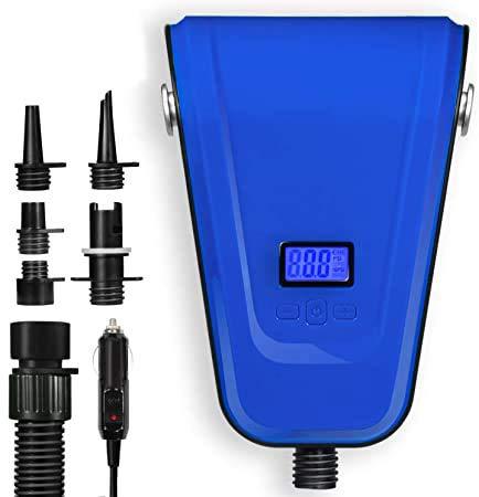 TONSIM Bomba eléctrica SUP con boquillas, bomba de alta presión, 12 V CC, compresor de aire SUP hinchable de doble etapa ajustable, 16 PSI 2500 mAh, para tabla de surf de remo
