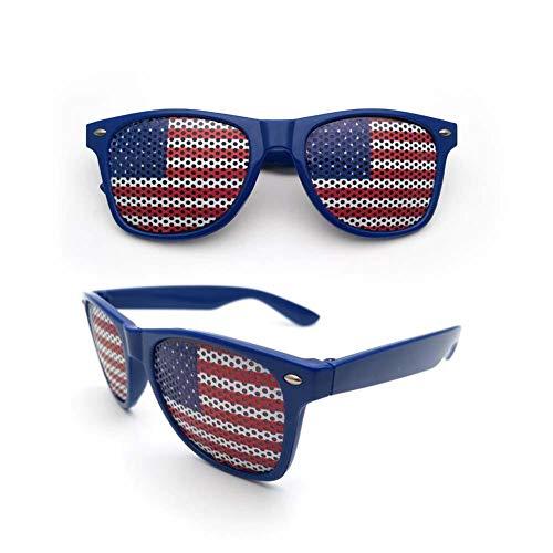 humflour Lunettes de Soleil de Drapeau américain des États-Unis, Accessoires de fête décoratifs UV400 pour la fête extérieure intérieure