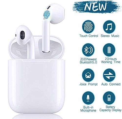 i12-TWS Bluetooth-Kopfhörer 5.0,kabellose Touch-Kopfhöre, In-Ear-Kopfhörer Rauschunterdrückungskopfhörer,Tragbare Sport-Bluetooth-Funkkopfhörer,Für Apple Airpods Android/iPhone/Samsung/AirPods Pro
