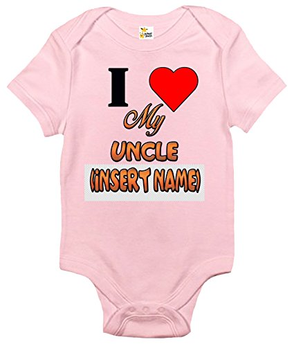 Custom Personalized Baby Bodysuit I Love My Uncle One-piece Baby Clothes (3-6 Months, Pink)