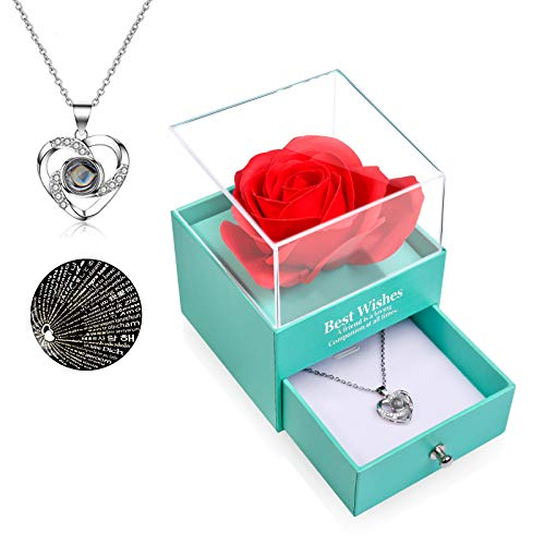 FilmHoo Mothers Day Gifts Preserved Real Rose with Heart Love You 925 Sterling Silver Necklace in 100 Languages Gifts for Mom Women Her Wife Girlfriend Birthday/Valentines Day/Christmas/Anniversary