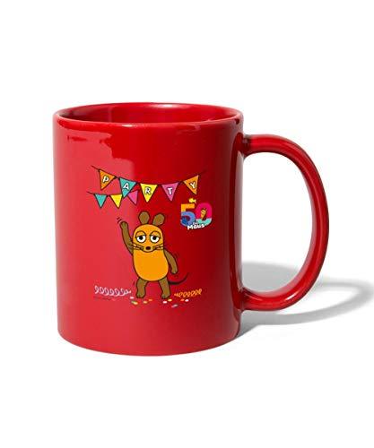 Die Sendung Mit Der Maus 50 Jahre Jubiläum Party Tasse einfarbig, Rot