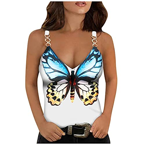 Women's Summer Sexy T-Shirts Tops Trendy Sexy Sleeveless V Neck Tunic Tees Ladies Butterfly Print Casual Vest Shirts
