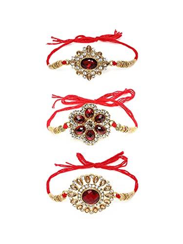 Zaveri Pearls Set of 3 Red Rakhi-ZPFK10524
