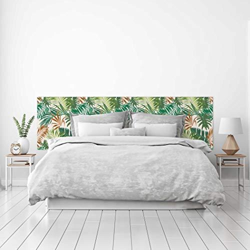 MEGADECOR Cabecero Cama PVC Decorativo Económico Diseño de Hojas de Palmera Verde y Marrón Varias Medidas (150 cm x 60 cm)