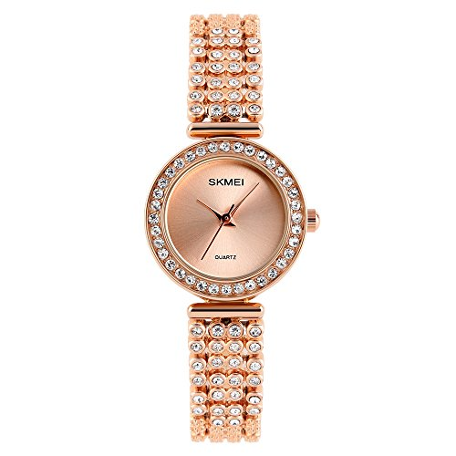 Quartz Watch Womens 30 Meters Waterproof Lady Watch with Stainless Steel Band (Golden)
