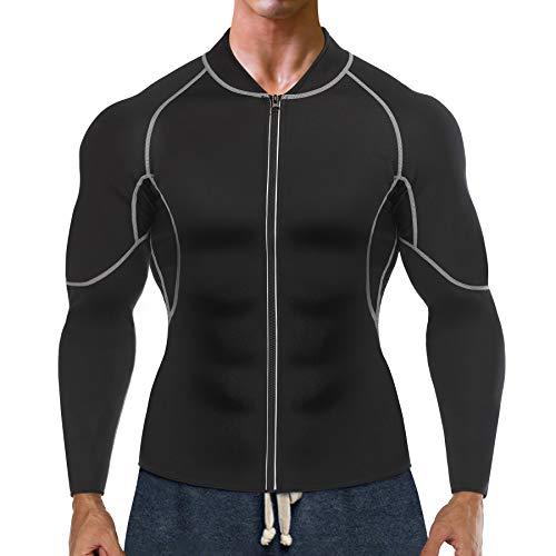 Bingrong Sudoracion Hombre con Cremallera Faja Sauna Deportiva Camiseta Compresion Mangas Largas Trajes para Fitness Sudoración Fajas Hombre Reductora Adelgazante Neopreno Deporte (Negro, Large)