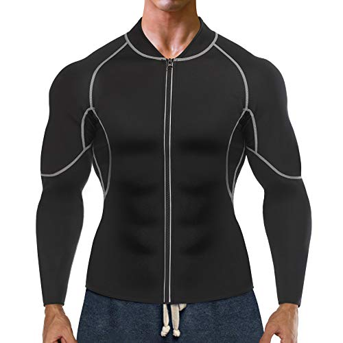 Bingrong Sudoracion Hombre con Cremallera Faja Sauna Deportiva Camiseta Compresion Mangas Largas Trajes para Fitness Sudoración Fajas Hombre Reductora Adelgazante Neopreno Deporte (Negro, X-Large)