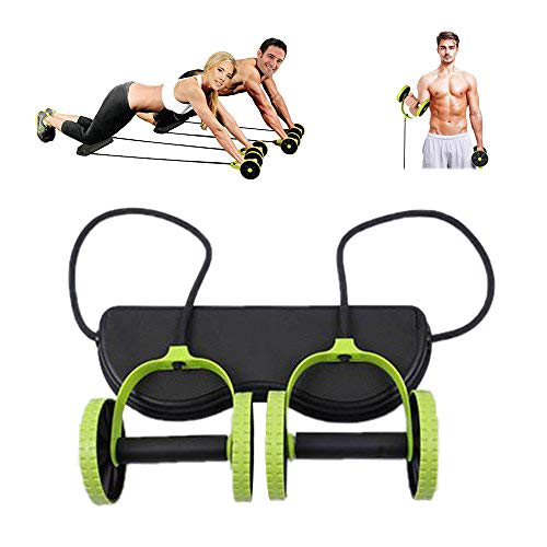 Darhoo New Sport Core Double AB Roller Wheel Fitness Abdominal Exercises Equipment Waist Slimming Trainer at Home Gym (Green)