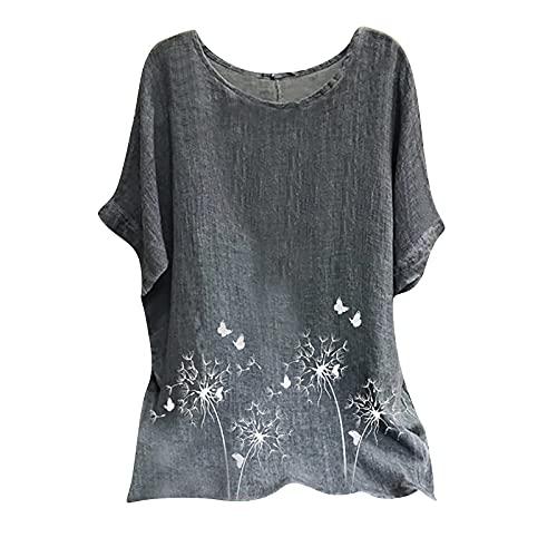 AC1 Camiseta informal de algodón para mujer, de lino, para mujer, de manga corta, con estampado de verano y cuello redondo, elegante (UK:12, blanco)