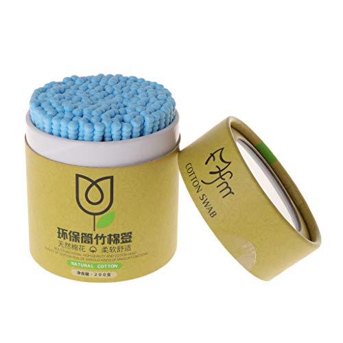 Yiwann Lot de 200 cotons-tiges en bambou jetables à double tête bleu