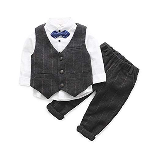 nobrand Neuer Kinder Anzug Hemd Anzug Baby Weste Mehrteiliges Set Gr. 120 cm, Dunkelgrauer dreiteiliger Anzug