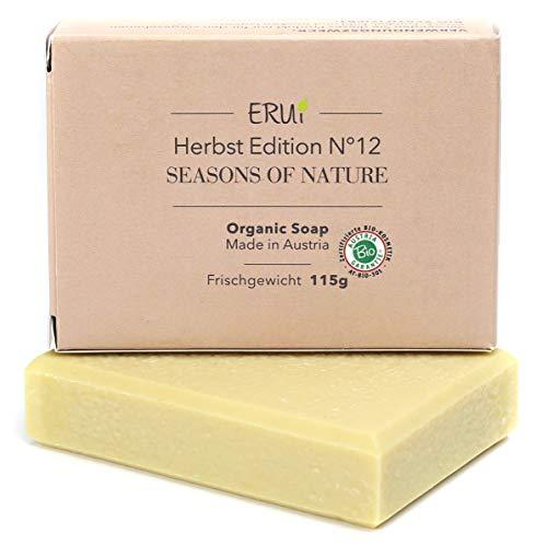 ERUi® Nachhaltige Bio Rasierseife für Herren & Damen - Handgemachte Naturseife für eine sanfte Rasur - Vegan, ohne Palmöl, Plastik und Parfum (1 x 115 g)