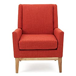 Amazon Christopher Knight Home Aurla Arm Chair, Orange Mid Century Modern