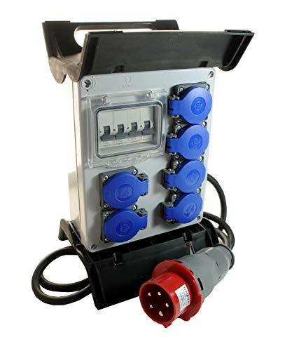 Mobiler Baustromverteiler/Standverteiler 6 x 230V/16A Schuko + LEGRAND LS komplett verdrahtet 1,5m Zuleitung & Haltegriff