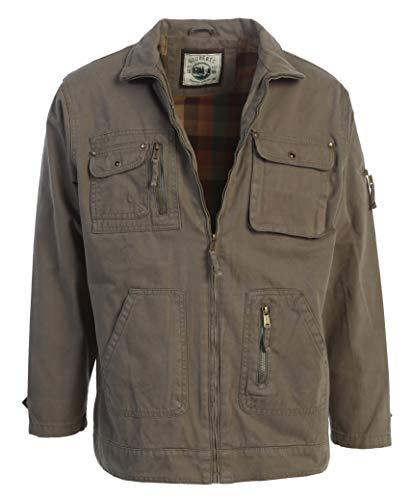 Gioberti Men's Casual Outerwear Twill Multi Pocket Cargo Shirt Jacket, Olive, S