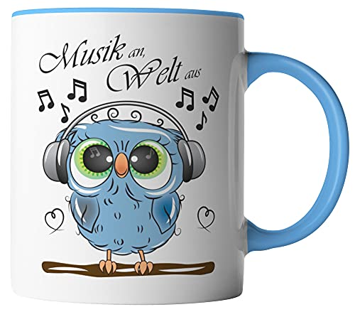 vanVerden Tasse - Musik an Welt aus - Eule mit Kopfhörer - beidseitig Bedruckt - Geschenk Idee Kaffeetassen, Tassenfarbe:Weiß/Blau