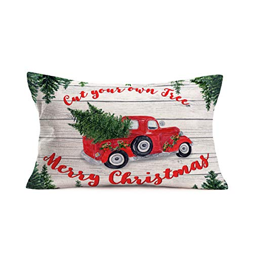 "Fukeen Happy Holiday Merry Christmas Vintage Wooden Throw Pillow Covers Waist Red Pickup Trucks with Pine Tree Decorative Pillow Cases Home Patio Seating Decor Cotton Linen Oblong 12""x20"" Pillowslip"