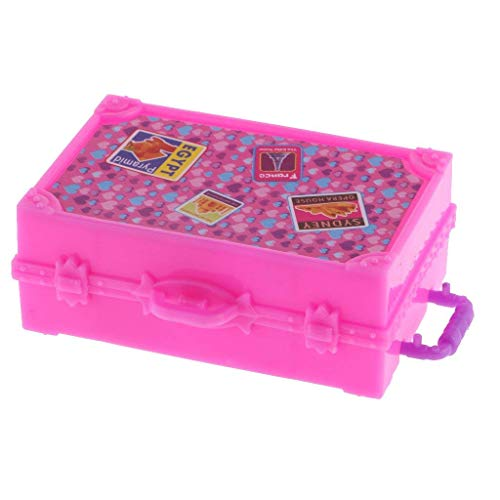 iraintech 2pcs Cute Pink Miniature Plastic Travel Case Box for Doll Decoration Accessory