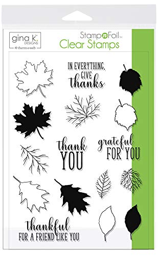 Gina K. Designs for Therm O Web StampnFoil Clear Stamps Thankful Leaves