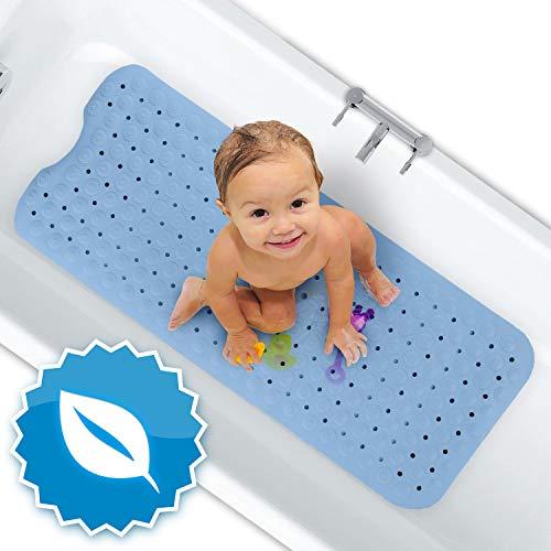 FLIPLINE Badewannenmatte Natura Hautsensitiv 100% BPA frei [100x40 cm] - KEIN PVC - Badewanneneinlage rutschfest für Kinder und Baby - Antirutschmatte