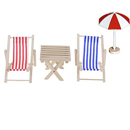 4er Set Miniatur Strand Sonnenschirm Liegestuhl Strand Stuhl Tisch Puppenliegestuhl Klappstuhl Miniliegestuhl für Puppe Garten Strand Mikrolandschaft DIY Deko