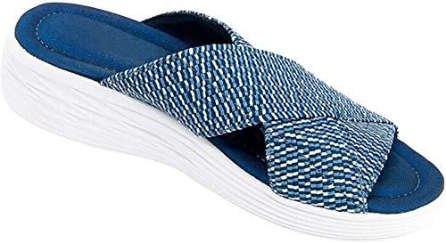 QAZW Sandalias De Diapositivas Ortopédicas Cruzadas Elásticas para Mujer, Zapatillas De Plataforma De Cuña De Playa De Verano, Zapatos De Tacón Antideslizantes Antideslizantes,Blue-40