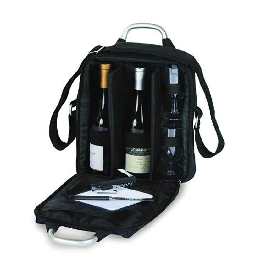 Picnic Plus Magellan Wine Tote and Cheese Set Holds 2 bottles includes Opener, Cheese Board, Knife- Black