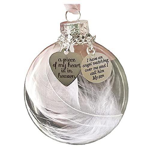 YQYH Adorno de Navidad con forma de corazón de plumas – A Piece of My Heart is in Heave Memorial Ornamento Pulseras Collares Joyería Regalos de Navidad para Mujeres Hombres Niños (A)