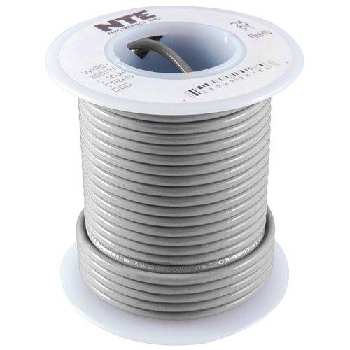 NTE Electronics WT22-08-25 Series WT Teflon Hook Up Wire, Type 22 Gauge, 19 Stranded, 25' Length, 600V, Gray